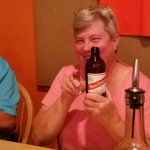 My wife having a Red Stripe Beer