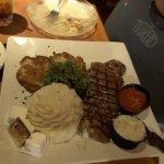 Steak, potatoes and crab cakes