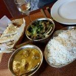 Naan, Lamb Korma, Riesling Wine, Bhindi Masala, Rice