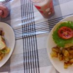Our meals: BLT and a Burger