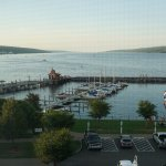 View of the harbor and Seneca Lake from our room