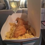 cod and chips (local white wine near Totnes)
