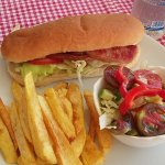 Blt with homemade chips and salad