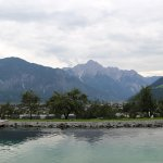 View across the pool to Lienz and Dolomites