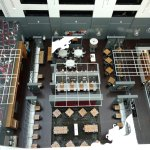 Looking down at the open air restaurant in the atrium