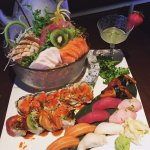 Sushi & Sashimi platter with India and Mikado Roll