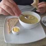 Courgette and cheese soup.