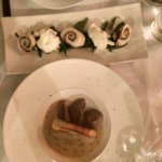 """sorry for the bad focus... chicken roll with burrata + liver paté and onion """"sauce"""" = mouth wate"""