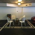 Smoking area in hot parking garage. 8x10 space. It was horrible. Hotel is getting old. Nice peop