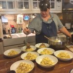 Alessandra showing a new way to serve tagliatelle (better than the old way!)