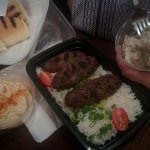 Kofta and rice with hummus