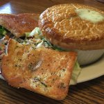 Original size Chicken Pot Pie with side salad. Extra order of garlic toast
