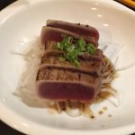 Seared tuna with ponzu, spider roll, dragon roll