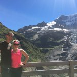 View from the Bäregg terrace - glaciers, waterfalls and Alps