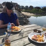 Dining on the deck at the Sommaroy Artic Hotel