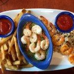Hand crafted shrimp scampi and Srirache grilled shrimp