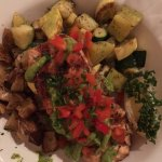 Salmon with rosemary potatoes and grilled vegetables