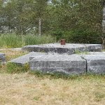 """Betsy's"""" foundation stones, moved from their original location in the 1970's"""
