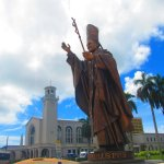 Dulce Nombre with Pope Statue
