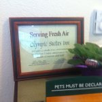 Serving Fresh Air--Sign at checkin
