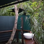 Our private alfresco ensuite in the rainforest.
