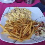 Mac n cheese with chicken and french fries and Nutella crepe