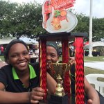 Proud employees, Thuli and Bonny, with our trophy