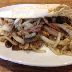 Steak, onion and mushroom baguette made with fresh local bread...gorgeous!