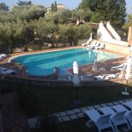 View from other balcony over swimming pool