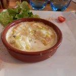 cassolette de langoustines à la fondue de poireaux