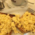Scrambled eggs on toast with pot of tea ;)