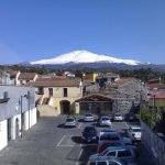 view of Etna in from street in front of the B&B