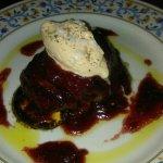 Solomillo con salsa de higos y helado de foie