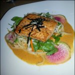 Awesome salmon w lovely radish, light sauce, Asian noodles..awesome!