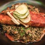 Salmon and lentils with pickles on top