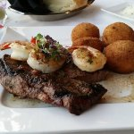 Steak with Shrimp and potato croquettes