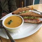 Salmon salad sandwich and soup