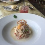 Beautiful ceviche Kinilaw; Blue Crab Ceviche, Blood Orange, Coco-Lime Broth