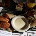 Pretzel appetizer with beer cheese dip