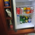 Bar fridge is loaded with snacks, but they are pricy