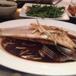Whole sea bass with ginger and soya