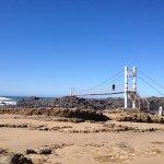suspension bridge to rocky island