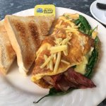 Bacon cheese and spinach omelette