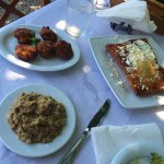 Tiropita (τυρóπιτα), Zucchini Fritters (Κολοκυθοκεφτέδες), Melitzanosalata (μελιτζανοσαλάτα)
