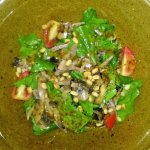 Салат с говяжьим языком, грибами и орешками