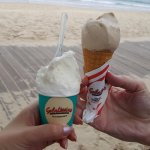 Coconut Icecream & Hazelnut Icecream (on a cone)