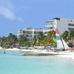 view from the beach to Ixchel Beach Hotel