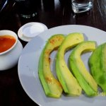 avocado with Peruvian red sauce