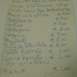 Il menù (chissà acqua vino e bevande quanto costano...)
