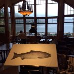 Dining room overlooking the bay where we saw a bear swim across and an eagle fly across.